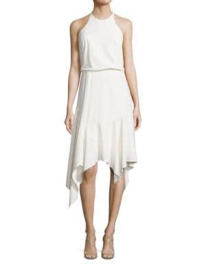 Handkerchief Hem Halter Dress by Halston Heritage
