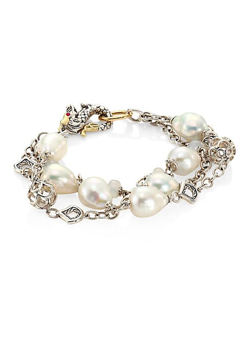 """Image of From the Legends Collection. Triple-row chain bracelet with luminous pearl strand.10mm white baroque freshwater pearl. White mooonstone. African rubies. Sterling silver. Diameter, 2.25"""".Length, 8.5"""".Lobster clasp. Imported."""