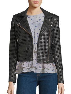 Branka Eyelet Leather Moto Jacket by IRO