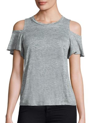 Cold Shoulder Linen Jersey Tee by Rebecca Taylor