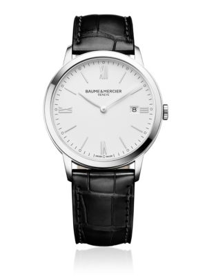Classima 10323 Stainless Steel And Alligator-Embossed Leather Strap Watch, Black