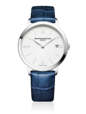 BAUME & MERCIER Classima 10355 Stainless Steel And Alligator-Embossed Leather Strap Watch in Dark Blue