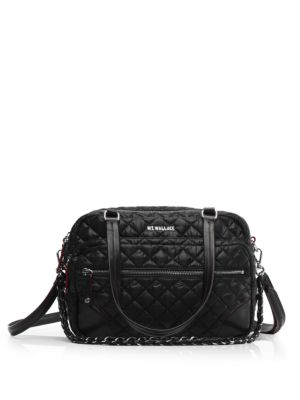 Quilted Crosby Satchel, Black