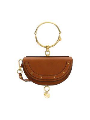 Nile Bracelet Small Textured-Leather Shoulder Bag in Black