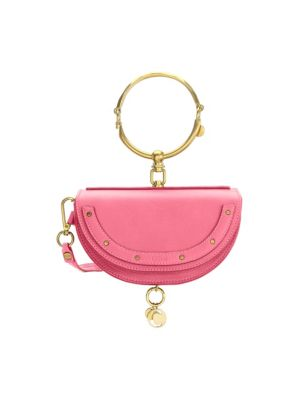 Nile Bracelet Mini Textured-Leather Shoulder Bag, Fuchsia