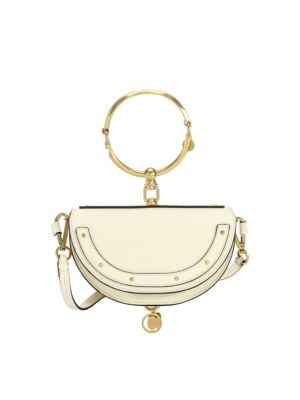 Minaudière Nile Shoulder Bag With Bracelet Handle, Off White