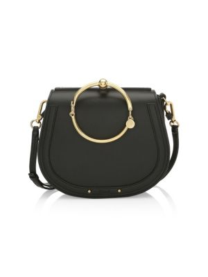 Nile Bracelet Medium Leather And Suede Shoulder Bag in Black