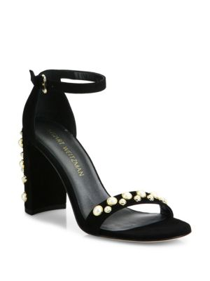 Morepearls Studded Suede Ankle Strap Sandals in Black from STUART WEITZMAN