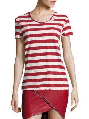 Nicola Striped Distressed Tee by RtA