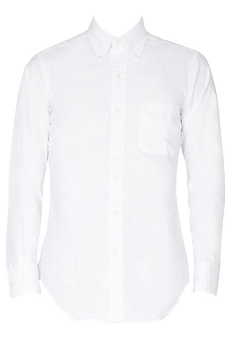 Image of Impeccably tailored shirt flaunting solid hue. Button-down point collar. Front button closure. Long sleeves with buttoned cuffs. Chest patch pocket. Cotton. Dry clean. Made in USA.