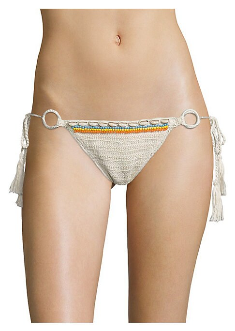 Image of Shell and bead accented bottom with ring accents. Side self-tie closure. Lined. Cotton. Machine wash. Imported. Please note: Bikini top sold separately.