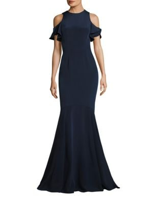 Ruffle Cold-Shoulder Mermaid Gown