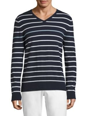 Image of Lightweight cashmere-blend tee in vibrant stripes.V-neck. Long sleeves with ribbed cuffs. Pullover style. Ribbed hem. Open stitch side panel. Cashmere/cotton. Machine wash. Imported.