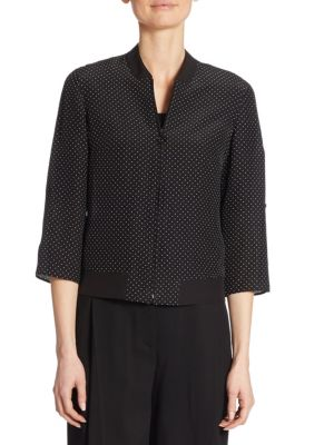 Dotted Silk Zip-Up Bomber Blouse by Akris punto