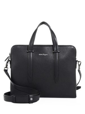 SALVATORE FERRAGAMO Firenze Tumbled Calfskin Slim Briefcase, Black