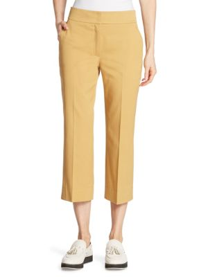 "Image of EXCLUSIVELY AT SAKS FIFTH AVENUE. Versatile wide-leg pant cut from crisp Italian cotton. Banded waist. Zip fly with concealed hook-and-bar closure. Side slash pockets. Back faux-welt pockets. Lined. Rise, about 8"".Inseam, about 26"".Cotton. Dry clean. Impo"