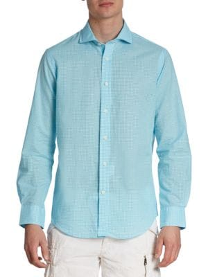 Image of A polished spread collar, breathable poplin, and genuine mother-of-pearl buttons give this shirt a smart upgrade. Spread collar. Long sleeves. Button cuffs. Mother-of-pearl button front. Shirrtail hem. Cotton/linen. Machine wash. Imported.