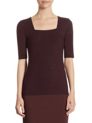 Squareneck Half Sleeve Top by Akris punto