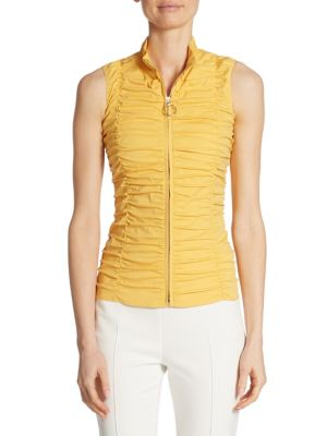 Sleeveless Ruched Zip-Up Blouse by Akris punto