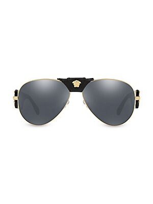 51fa7bc0e78 Versace - 62MM Mirrored Leather-Wrapped Pilot Sunglasses