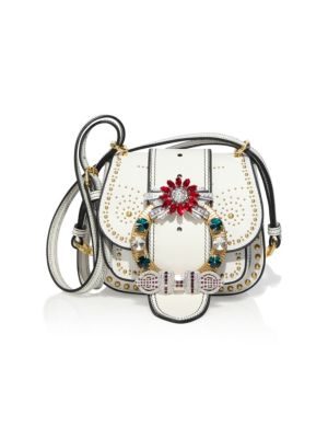 Dahlia Jewel-Buckle Studded Leather Shoulder Bag in White