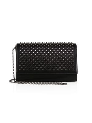 Paloma Fold-Over Spike Clutch Bag, Black from Christian Louboutin