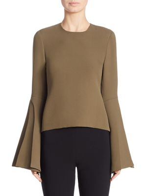 Long Bell Sleeve Top by Brandon Maxwell