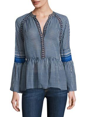 Striped Silk V-neck Peasant Blouse by BCBGMAXAZRIA