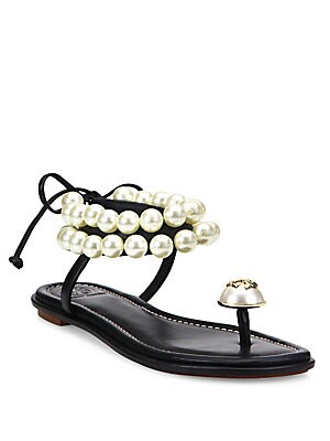 8a908a75640d5c Tory Burch - Melody Beaded Leather Ankle Tie Sandals - saks.com