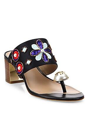 66e32f09870 Tory Burch - Estella Silk Blend Ring Slide Sandals - saks.com
