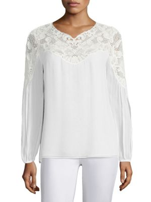 Serena Silk Lace Top by KOBI HALPERIN