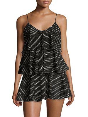LISA MARIE FERNANDEZ Imaan Tiered Polka-Dot Cotton-Voile Mini Dress in Black