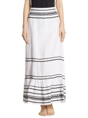 Fiesta Rickrack-Trimmed Ruffled Linen Maxi Skirt, White