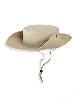 """Image of Comfy cotton boonie with adjustable chin strap 10"""" X 10"""" X 3.35"""" Cotton Spot clean Imported. Men Accessories - Cold Weather Accessories. Block Headwear. Color: Khaki."""