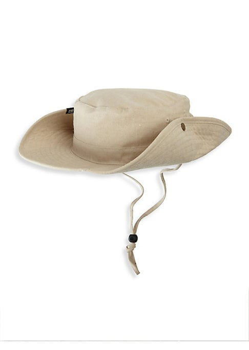 "Image of Comfy cotton boonie with adjustable chin strap.10"" X 10"" X 3.35"".Cotton. Spot clean. Imported."