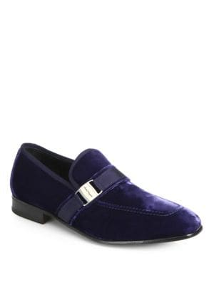 Image of Velvet formal shoe with grosgrain detail. Viscose and cotton upper. Slip-on style. Leather lining and sole. Made in Italy.