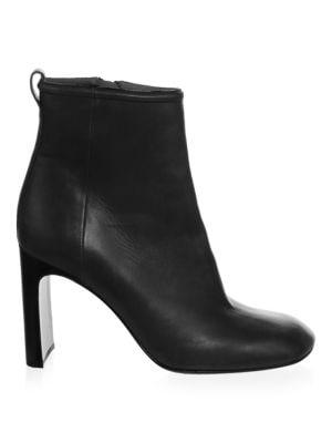 Ellis Square-Toe Leather Booties, Black