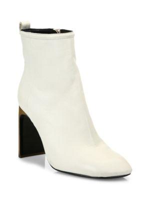 Ellis Lamb Leather Ankle Boots, Ivory