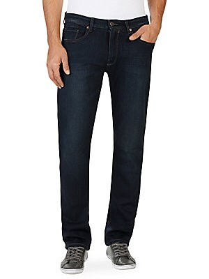 """Image of Soft slim-fit jean with longer inseam for taller frames Belt loops Zip fly with button closure Five-pocket style Rise, about 10"""" Insea, about 37"""" Cotton/elastane Machine wash Made in USA. Men Adv Contemp - Contemp Denim And Bottom. Paige Jeans. Color: Cel"""