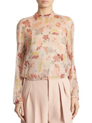 Metallic Floral-Print Blouse by REDValentino