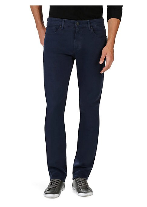 """Image of Perfectly crafted slim-fit pant in a washed finish. Belt loops. Zip fly with button closure. Five-pocket style. Rise, about 10"""".Inseam, about 34"""".Rayon/cotton/polyester/spandex. Machine wash. Made in USA."""