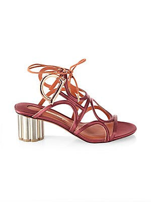 e9bbd63567f0 Salvatore Ferragamo - Detailed Gancio Flower Heel Vinci Sandals