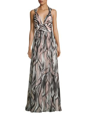 Halter Shirred Printed Maxi Dress by Aidan Mattox
