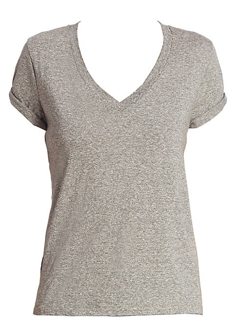"""Image of Super comfortable tee crafted from soft cotton.V-neck. Short sleeves. Rolled cuffs. Pullover style. About 23"""" from shoulder to hem. Cotton. Machine wash. Made in USA. Model shown is 5'10"""" (177cm) wearing size Small."""
