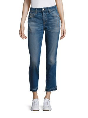 """Image of Must-have raw hem finishes straight-leg jeans. Belt loops. Button fly with button closure. Five-pocket style. Rise, about 10"""".Inseam, about 27"""".Leg opening, about 13"""".Cotton/elastane. Machine wash. Made in USA of Italian fabric. Model shown is 5'10"""" (177c"""