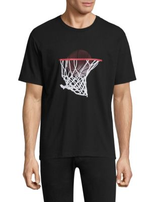 TEE LIBRARY Basketball Cotton Tee in Black