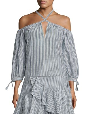 Striped Off-the-Shoulder Top by Rebecca Taylor