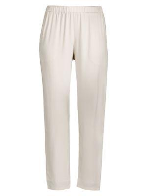 Silk Georgette Crepe Slouchy Ankle Pants, Plus Size in Bone
