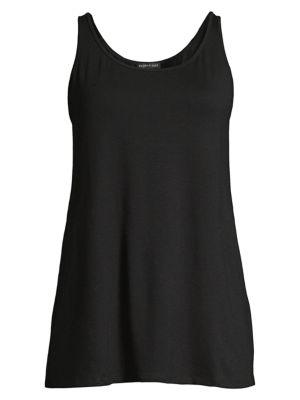 System Stretch Jersey Sleeveless Scoop-Neck Shell, Regular & Petite in Black