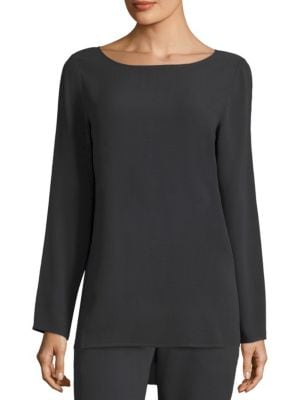 Silk Georgette Boatneck Top by Eileen Fisher